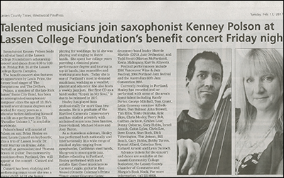 """""""Talented musicians join saxophonist Kenney Polson at Lassen College Foundation's benefit concert Friday night"""""""